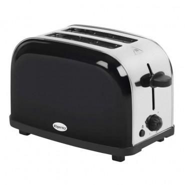 Black 2 slice stainless steel toaster