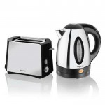 Polished steel toaster and kettle twin     pack