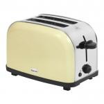 Cream 2 slice stainless steel toaster