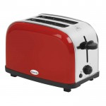 Red 2 slice stainless steel toaster