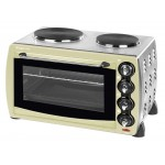 28 litre cream mini oven with double hot     plates